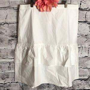 JCrew White Ruffled Skirt. NWT. Size 14